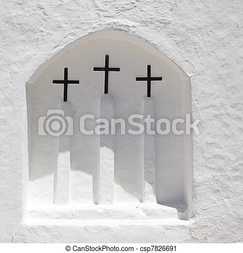 Ibiza white church in Sant Carles Peralta - csp7826691