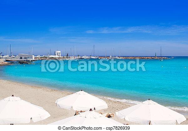 Ibiza Santa Eulalia del Rio turquoise beach - csp7826939