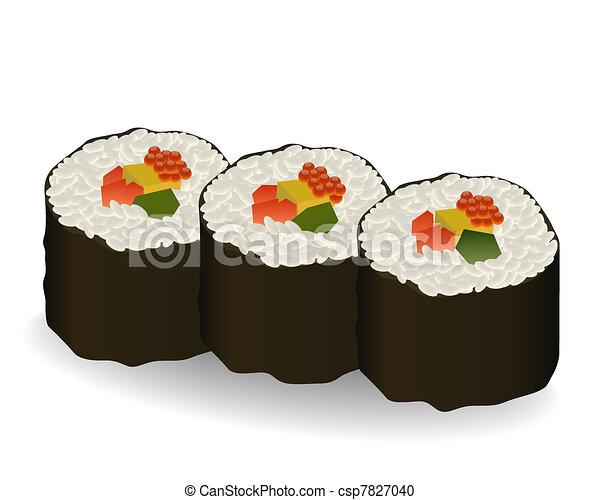 three rolls sushi - csp7827040
