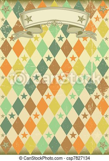 Vintage rhombus pattern poster - csp7827134