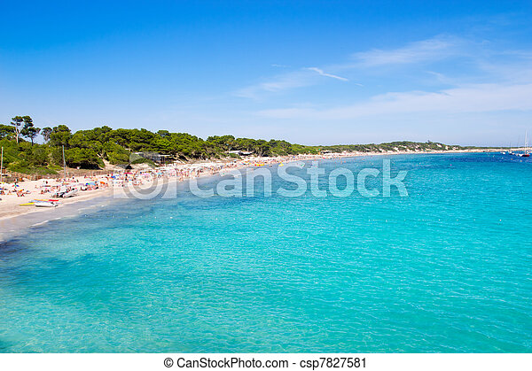 Ibiza Ses Salines south turquoise beach - csp7827581