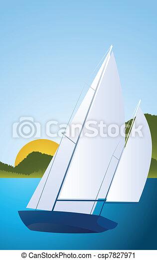 Yacht - sailing boat regatta vector - csp7827971