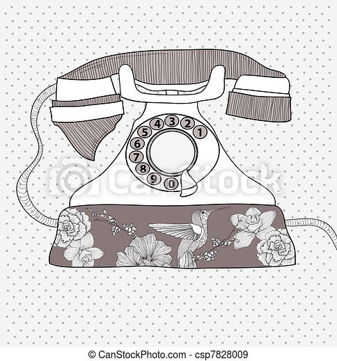 Flower pattern retro telephone - csp7828009