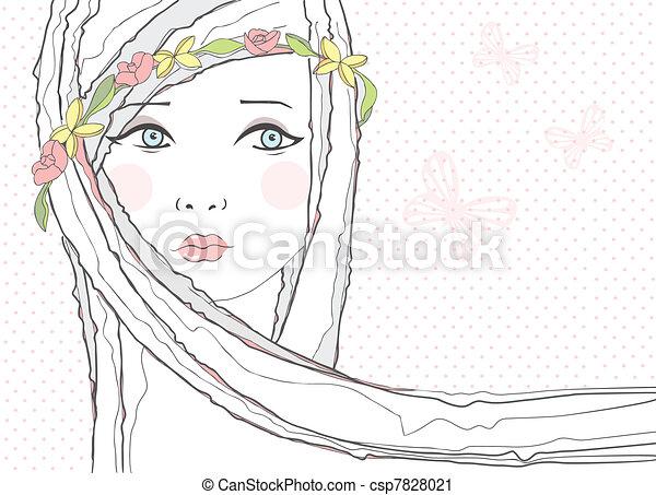 Cute teen girl, flowers background - csp7828021