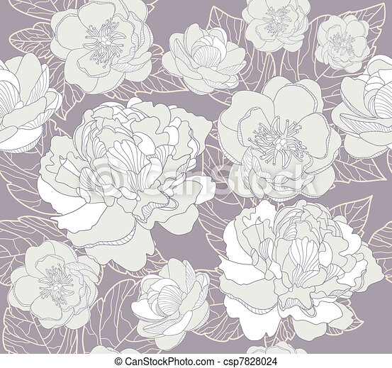 Seamless flowers pattern - csp7828024
