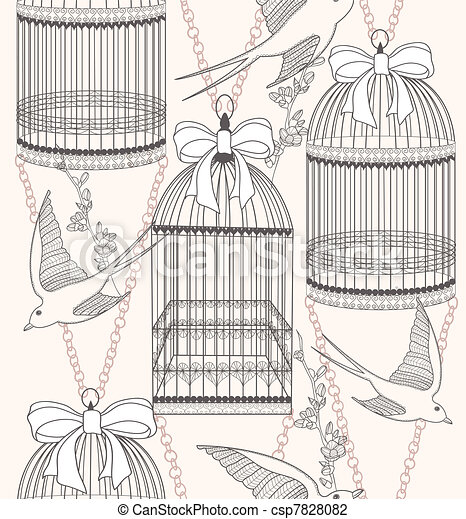 Seamless flowers and birds pattern - csp7828082