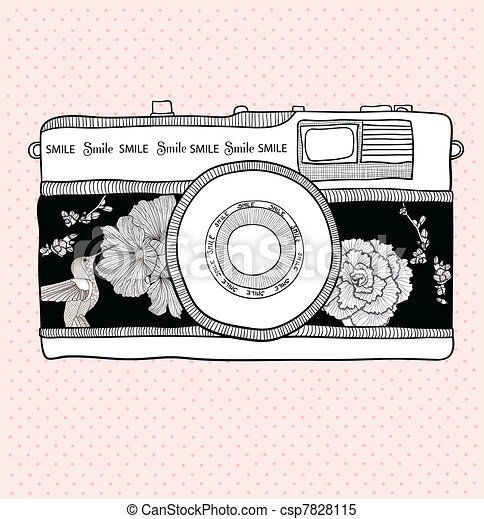 Retro camera with flowers and birds - csp7828115