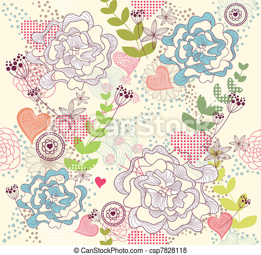 flowers and hearts seamess pattern - csp7828118