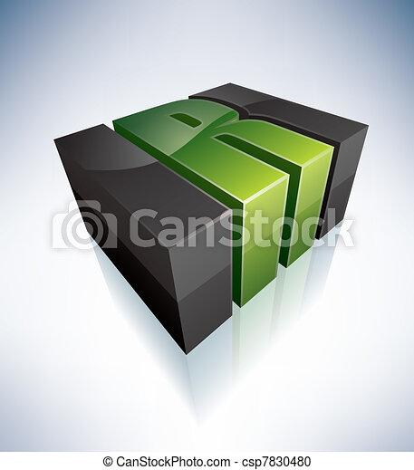 Three-dimensional R Letter - csp7830480