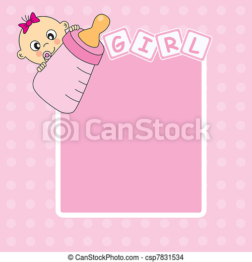 Baby girl arrival announcement card - csp7831534