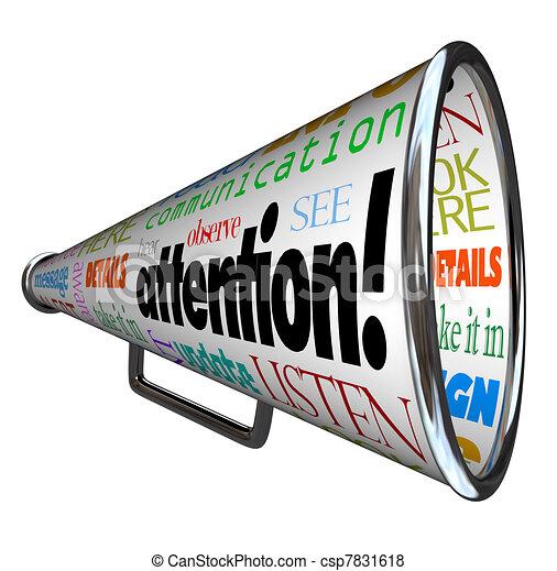 Attention Bullhorn Megaphone Sends Warning Message - csp7831618