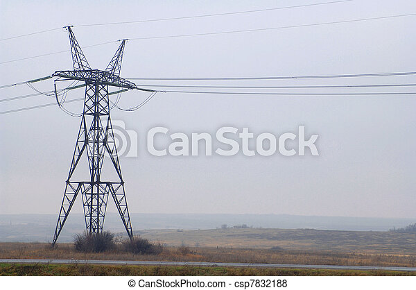 Electric power utility pole on cloudy sky - csp7832188