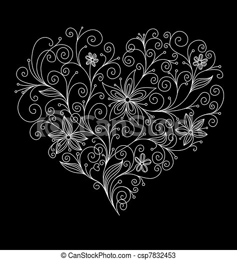 Abstract flourish heart - csp7832453
