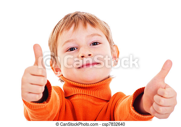 Boy showing thumbs up isolated one white - csp7832640