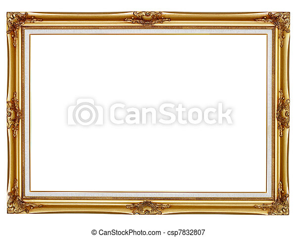 Gilded frame for painting on white background - csp7832807