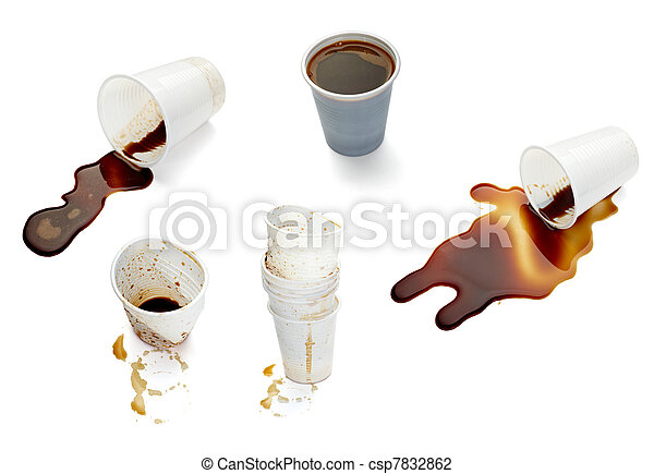 plastic cup of coffee dring beverage food office spilled messy - csp7832862