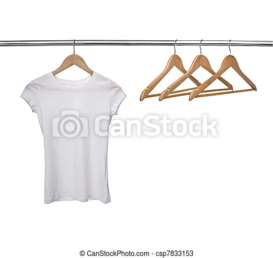 white t shirt on cloth hangers - csp7833153