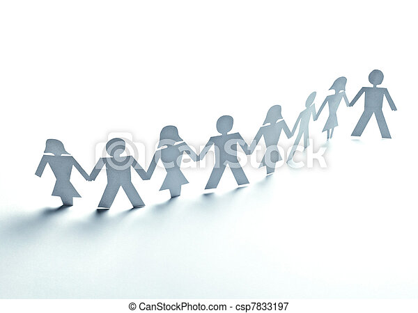 paper people cutout connection community - csp7833197