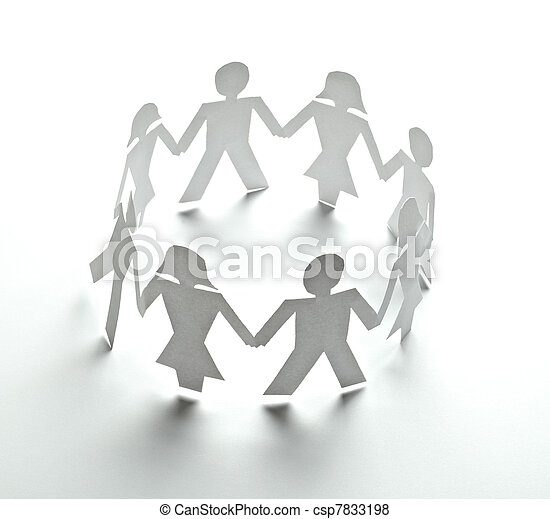 paper people cutout connection community - csp7833198