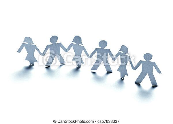 paper people cutout connection community - csp7833337