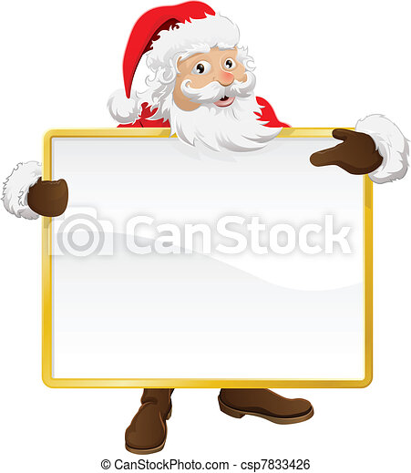 Santa holding Christmas sign and pointing - csp7833426