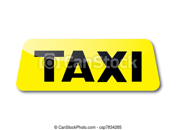 Yellow taxi sign - csp7834285