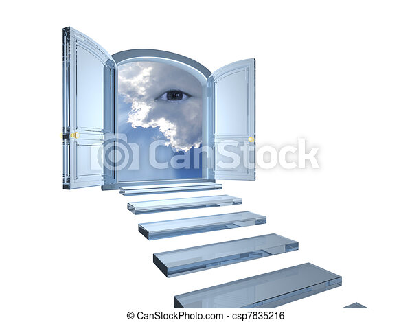 Big crystal door opened on a mystic eye in clouds - csp7835216