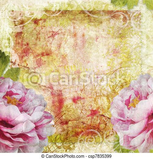 retro floral background  - csp7835399