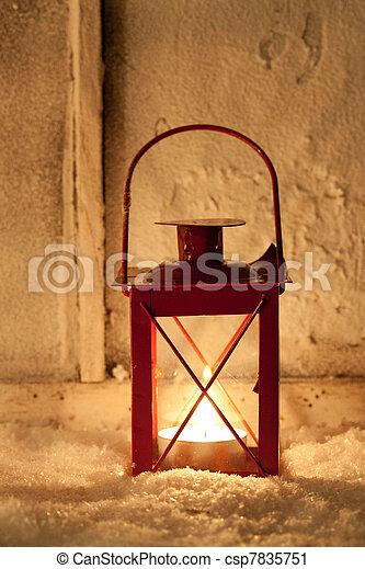 Lantern in the snow - csp7835751