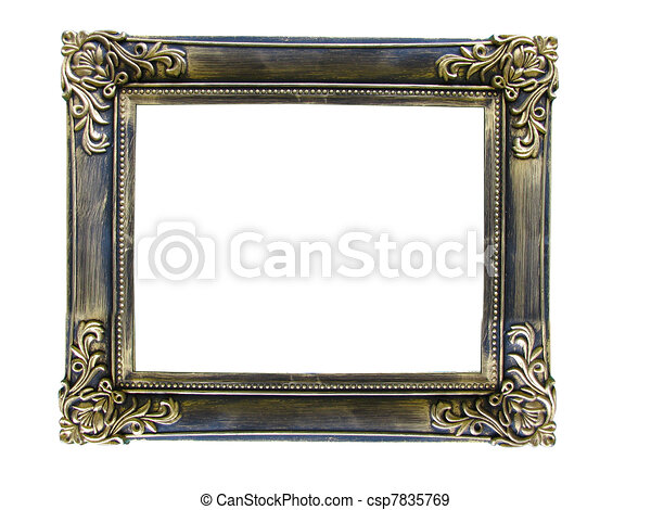 Vintage antique gold picture frame over white - csp7835769