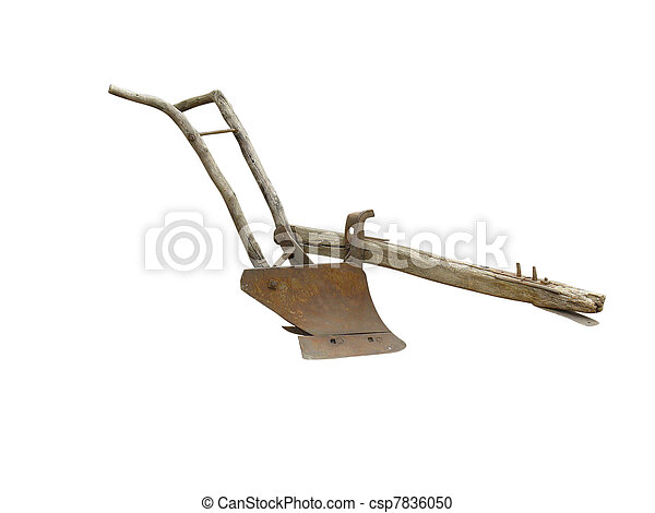 Agricultural old manual plow isolated over white - csp7836050