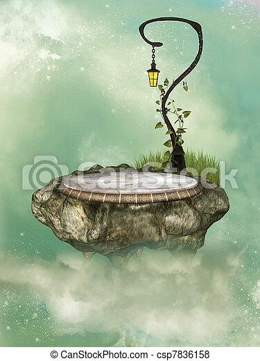 floating rock  - csp7836158