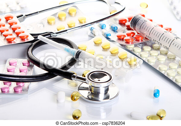 Stethoscope with different pharmaceutical stuff - csp7836204