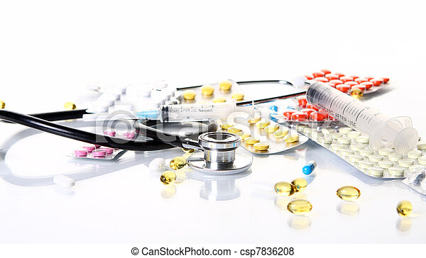 Stethoscope with different pharmaceutical stuff - csp7836208
