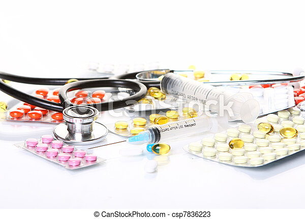 Stethoscope with different pharmaceutical stuff - csp7836223
