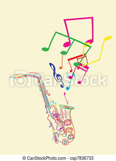 Saxophone with musical notes - csp7836733