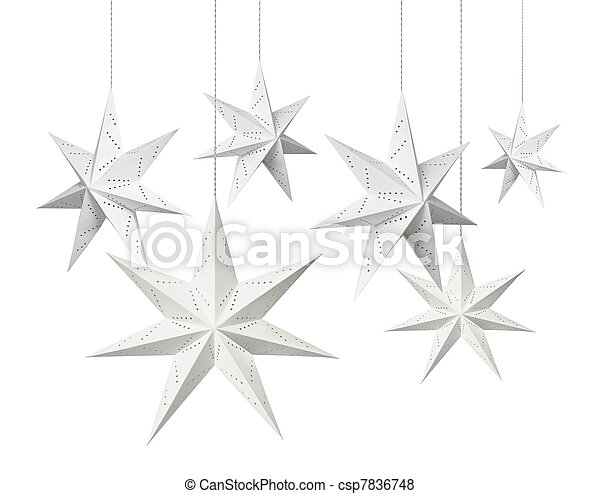 branca, Natal, papel, estrelas - csp7836748