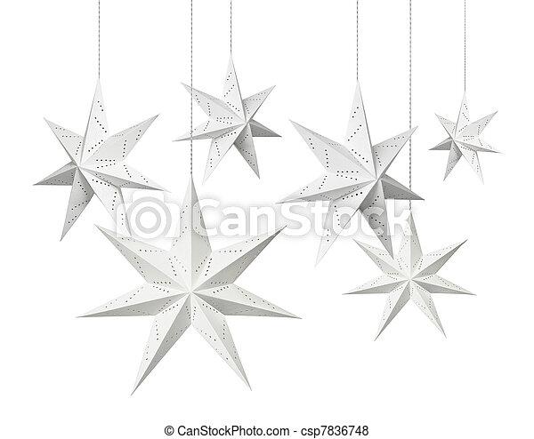 White Christmas paper stars - csp7836748