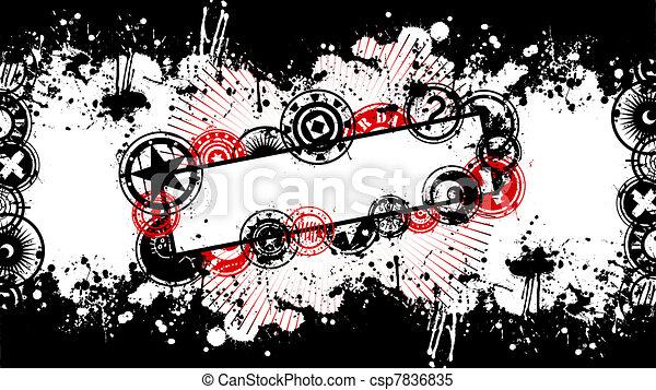 Grunge Background and Splatter Banner Vector - csp7836835