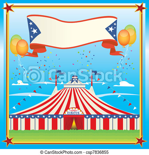 red and blue circus big top - csp7836855
