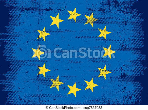 european grunge flag - csp7837083