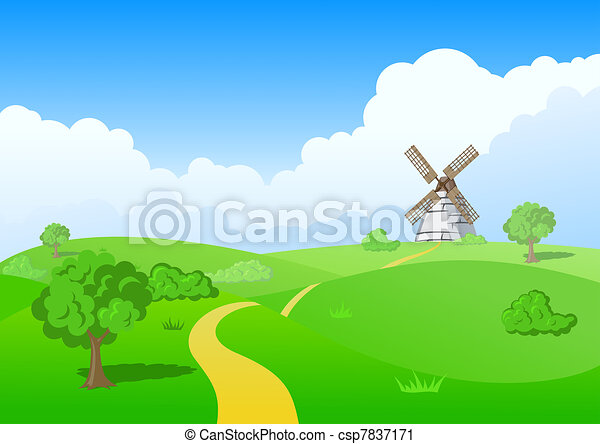 Clipart of Green Mill - Countryside vector landscape: MILL ...