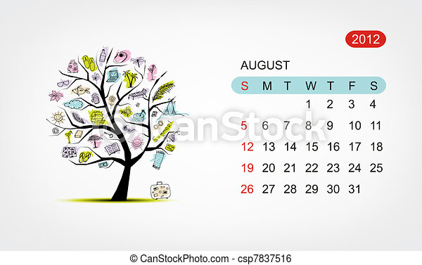 Vector calendar 2012, august. Art tree design - csp7837516