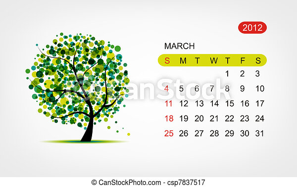 Vector calendar 2012, march. Art tree design - csp7837517