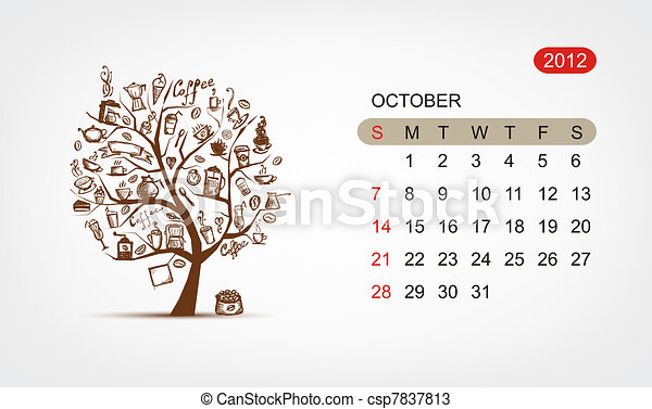 Vector calendar 2012, october. Art tree design - csp7837813