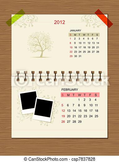 Vector calendar 2012, february. - csp7837828