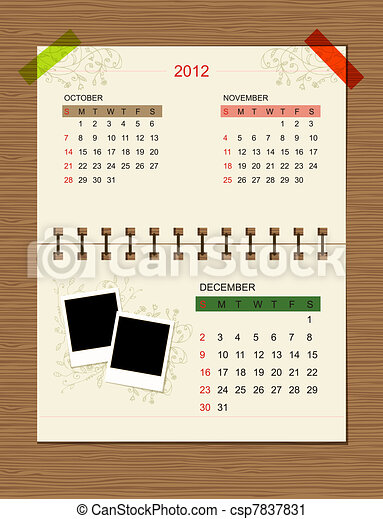 Vector calendar 2012, december.  - csp7837831