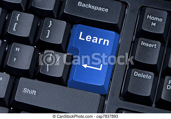 Button learn computer keyboard concept of education. - csp7837893