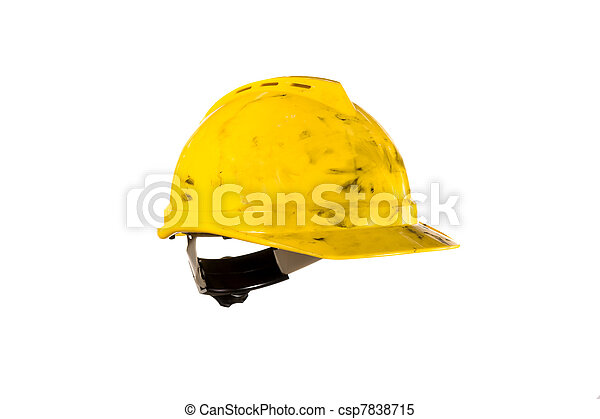Dirty hardhat isolated on white - csp7838715