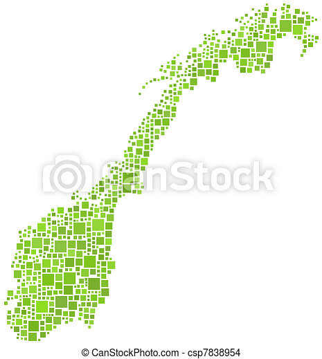 Map of Norway (Europe) in a mosaic  - csp7838954